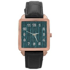 Stylish Frost Blue Strips Rose Gold Leather Watch  by gatterwe