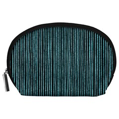 Stylish Frost Blue Strips Accessory Pouches (large)  by gatterwe