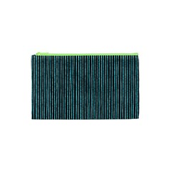 Stylish Frost Blue Strips Cosmetic Bag (xs) by gatterwe