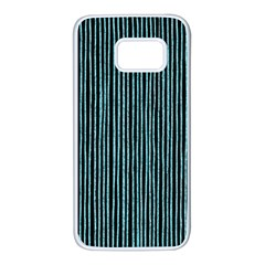 Stylish Frost Blue Strips Samsung Galaxy S7 White Seamless Case by gatterwe