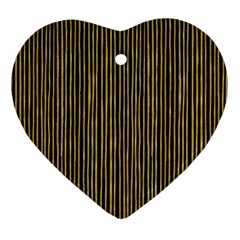 Stylish Golden Strips Heart Ornament (two Sides) by gatterwe
