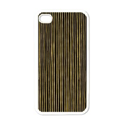 Stylish Golden Strips Apple Iphone 4 Case (white) by gatterwe