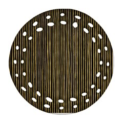Stylish Golden Strips Round Filigree Ornament (two Sides) by gatterwe