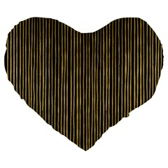 Stylish Golden Strips Large 19  Premium Heart Shape Cushions by gatterwe