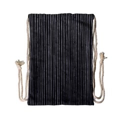 Stylish Silver Strips Drawstring Bag (small) by gatterwe