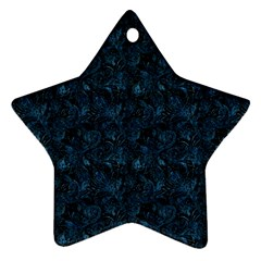 Blue Flower Glitter Look Star Ornament (two Sides) by gatterwe