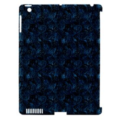 Blue Flower Glitter Look Apple Ipad 3/4 Hardshell Case (compatible With Smart Cover) by gatterwe
