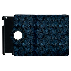 Blue Flower Glitter Look Apple Ipad 3/4 Flip 360 Case by gatterwe
