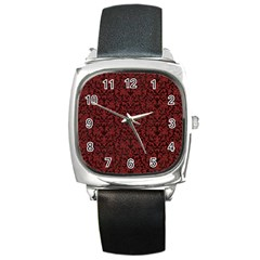 Red Glitter Look Floral Square Metal Watch by gatterwe