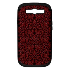 Red Glitter Look Floral Samsung Galaxy S Iii Hardshell Case (pc+silicone) by gatterwe