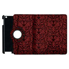 Red Glitter Look Floral Apple Ipad 3/4 Flip 360 Case by gatterwe