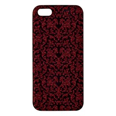 Red Glitter Look Floral Apple Iphone 5 Premium Hardshell Case by gatterwe