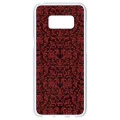 Red Glitter Look Floral Samsung Galaxy S8 White Seamless Case by gatterwe