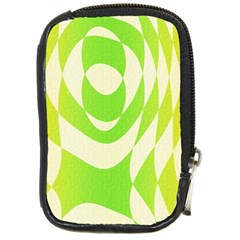 Green Shapes Canvas                              Compact Camera Leather Case by LalyLauraFLM