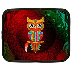 Cute Owl, Mandala Design Netbook Case (xxl)  by FantasyWorld7