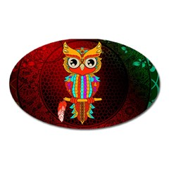 Cute Owl, Mandala Design Oval Magnet by FantasyWorld7