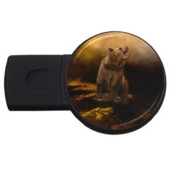 Roaring Grizzly Bear Usb Flash Drive Round (2 Gb) by gatterwe