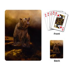 Roaring Grizzly Bear Playing Card