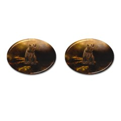 Roaring Grizzly Bear Cufflinks (oval) by gatterwe
