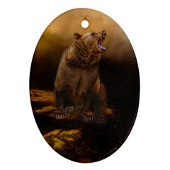 Roaring Grizzly Bear Oval Ornament (two Sides) by gatterwe