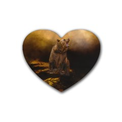 Roaring Grizzly Bear Heart Coaster (4 Pack)  by gatterwe