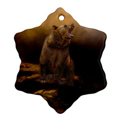 Roaring Grizzly Bear Ornament (snowflake) by gatterwe