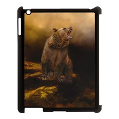 Roaring Grizzly Bear Apple Ipad 3/4 Case (black) by gatterwe