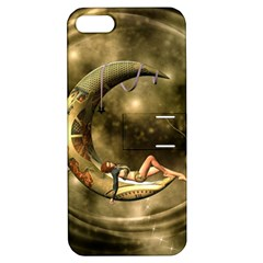 Steampunk Lady  In The Night With Moons Apple Iphone 5 Hardshell Case With Stand by FantasyWorld7