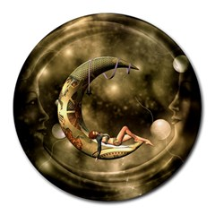 Steampunk Lady  In The Night With Moons Round Mousepads by FantasyWorld7