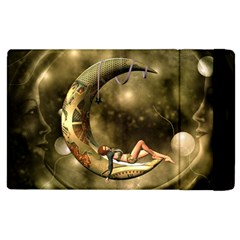 Steampunk Lady  In The Night With Moons Apple Ipad 3/4 Flip Case by FantasyWorld7