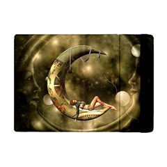 Steampunk Lady  In The Night With Moons Apple Ipad Mini Flip Case by FantasyWorld7