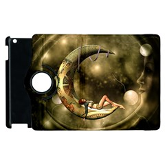 Steampunk Lady  In The Night With Moons Apple Ipad 3/4 Flip 360 Case by FantasyWorld7