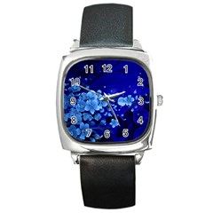 Floral Design, Cherry Blossom Blue Colors Square Metal Watch by FantasyWorld7