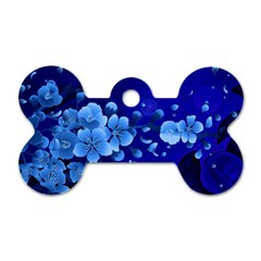 Floral Design, Cherry Blossom Blue Colors Dog Tag Bone (two Sides) by FantasyWorld7
