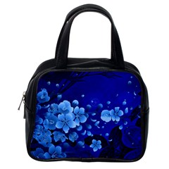 Floral Design, Cherry Blossom Blue Colors Classic Handbags (one Side) by FantasyWorld7