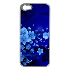 Floral Design, Cherry Blossom Blue Colors Apple Iphone 5 Case (silver) by FantasyWorld7