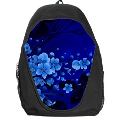 Floral Design, Cherry Blossom Blue Colors Backpack Bag by FantasyWorld7