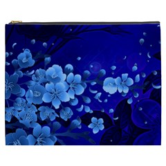 Floral Design, Cherry Blossom Blue Colors Cosmetic Bag (xxxl)  by FantasyWorld7