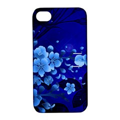 Floral Design, Cherry Blossom Blue Colors Apple Iphone 4/4s Hardshell Case With Stand by FantasyWorld7