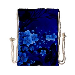 Floral Design, Cherry Blossom Blue Colors Drawstring Bag (small) by FantasyWorld7