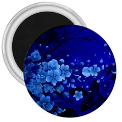 Floral Design, Cherry Blossom Blue Colors 3  Magnets by FantasyWorld7