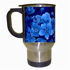 Floral Design, Cherry Blossom Blue Colors Travel Mugs (white) by FantasyWorld7