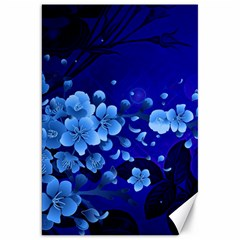 Floral Design, Cherry Blossom Blue Colors Canvas 20  X 30   by FantasyWorld7