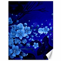Floral Design, Cherry Blossom Blue Colors Canvas 36  X 48   by FantasyWorld7