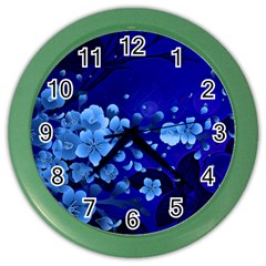 Floral Design, Cherry Blossom Blue Colors Color Wall Clocks by FantasyWorld7