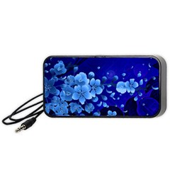 Floral Design, Cherry Blossom Blue Colors Portable Speaker (black) by FantasyWorld7