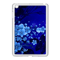 Floral Design, Cherry Blossom Blue Colors Apple Ipad Mini Case (white) by FantasyWorld7