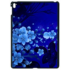 Floral Design, Cherry Blossom Blue Colors Apple Ipad Pro 9 7   Black Seamless Case by FantasyWorld7