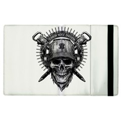 Skull Helmet Drawing Apple Ipad 3/4 Flip Case by amphoto