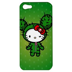 Vector Cat Kitty Cactus Green  Apple Iphone 5 Hardshell Case by amphoto